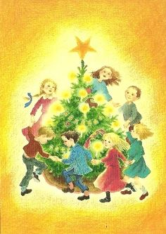 Kinderen om kerstboom, Ilon Wikland