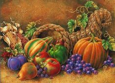 Photo by Barbara_Wyckoff November Thanksgiving, Thanksgiving Crafts For Kids, Autumn Painting, Autumn Art, Fall Paintings, Fruits And Vegetables Images, Barbie Paper Dolls, Still Life Fruit, Still Life