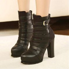 Womens Boots | Charming Suede Black Buckle Round Closed Toe Chunky Super High Heel Boots - Hugshoes.com