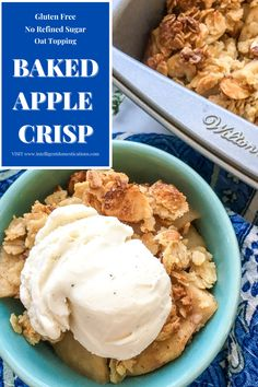 Easy recipe for Gluten Free and Refined Sugar Free Baked Apple Crisp with an Oat topping. We use almond flour and almonds to make this fall dessert favorite. Fresh apples create the best fall food recipes especially dessert. We love the crisp bite of the apples paired with the oat topping in this dessert. #fallfood #appledessert #applerecipe #glutenfree Apple Desserts, Fall Desserts, Dessert Recipes, Dessert Ideas, Baking Recipes, Baking Hacks, Sweet Desserts, Keto Recipes, Vegetarian Recipes