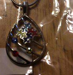 Support Autism Awareness beautiful Drop Necklace blue white yellow red