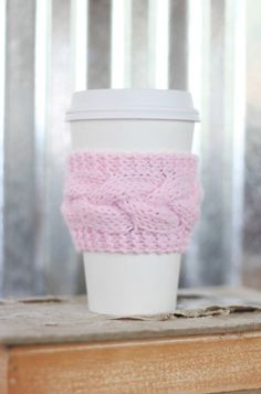 SALE* Soft Pink Cable Knit Coffee Cozy w/Gold Wood Button/ Tea Cozy/ Cup Cozy/ Coffee Cover/ Coffee Sleeve/ Latte Cozy