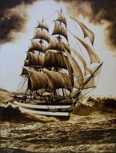 Ship in the Storm by Stefania Mante Ship Drawing, Stormy Sea, Drawing Studies, Montage Photo, Coffee Painting, Wood Burning Art, Body Is A Temple, Tall Ships, Nautical Theme