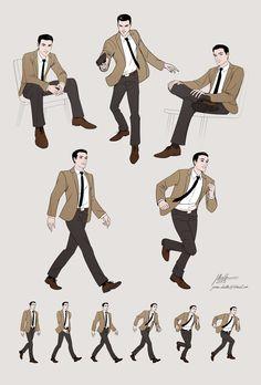 Man 1960s . Dynamic poses. by javieralcalde.deviantart.com on @deviantART