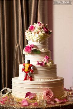 The Beautiful Cake with a Surprise for the Groom!  - Steph Stevens Photo - #AldenCastle #ModernVintage #Weddings #Cake #WeddingCake #LongwoodVenues