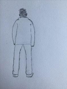 Achterkant van een jongen, in de wind (zie haar)