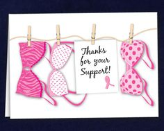 Thanks for Your Support Pink Ribbon Card, Pink Ribbon Note Cards