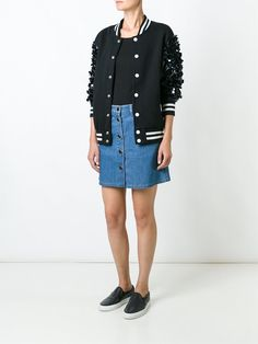 ¡Cómpralo ya!. Night Market Embellished Sleeves Bomber Jacket. Black leather and cotton embellished sleeves bomber jacket from Night Market. , chaquetabomber, elbowdiamond, baseball. Chaqueta bomber  de mujer color negro de NIGHT MARKET.