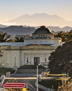 Wanganui Library with Mount Ruapehu in the background Mount Ruapehu, Cultural Center, New Zealand, Art Gallery, Construction, Mansions, Park, History, House Styles