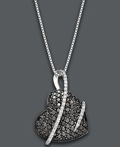 Sterling Silver Necklace, Black and White Diamond Heart Pendant (1 ct. t.w.) - Necklaces - Jewelry & Watches - Macy's