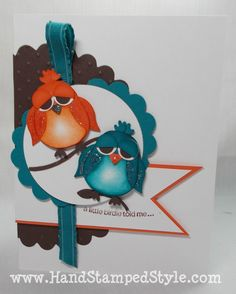 I have ordered the owl punch (from Stampin' Up) - so keeping this card idea on hand to try.  First in a series of projects to be made with owl punch.  Cute!