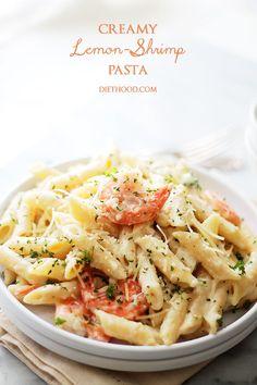 Creamy Lemon-Shrimp Pasta | www.diethood.com | Lemony, creamy, cheesy Shrimp and Pasta dinner that's ready in 30 minutes, from start to finish!