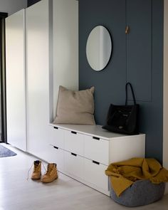 "Ikea ""Nordli"" drawers serve as a bench Ikea Hallway, Ikea Entryway, Modern Entryway, Hallway Storage, Nordli Ikea, Ikea Pax, Hallway Inspiration, Interior Inspiration, Mudroom Cabinets"