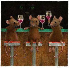 Will Bullas/three wined mice/original art - organic & natural wine Animals And Pets, Cute Animals, Sheep Face, Cute Rats, Wine Art, Cute Mouse, Canvas Prints, Art Prints, Art Gallery