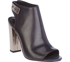 H by Halston Leather Peep-Toe Bootie with Block Heel - Natalie