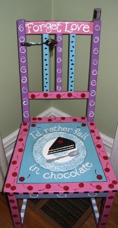 Cherry and Chocolate painted chair
