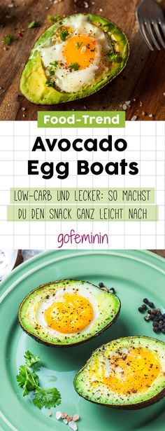 Avocado Egg Boats Dieser Food-Trend ist Low-Carb und au erdem super lecker a Avocado Egg Boats Dieser Food-Trend ist Low-Carb und au erdem super lecker a Maria Lewerenz Rezepte Avocado Egg Boats Dieser nbsp hellip egg healthy Avocado Dessert, Avocado Salad Recipes, Veggie Recipes, Healthy Recipes, Avocado Egg Boats, Avocado Toast, Low Carb Avocado, Healthy Cooking, Healthy Eating