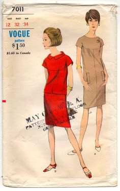"""1960's Vogue One-Piece Sheath Dress ot Blouse and Skirt Pattern - Bust 32"""" - No. 7011 by backroomfinds on Etsy"""