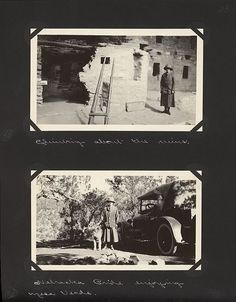 Edward and Margaret Gehrke scrapbook page with photos of Margaret standing in cliff dwellings and standing with her Airedale and auto. Mesa Verde National Park. August 17-September 1, 1925.