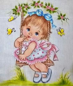 Baby Painting, Fabric Painting, Art Drawings Sketches Simple, Cute Drawings, Fabric Paint Designs, Letter Wall Art, Christmas Wood Crafts, Cute Cartoon Girl, Baby Drawing