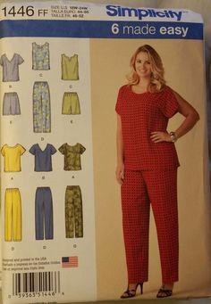 Simplicity Pattern 1446 sz 26W-32W Women's Tops, Pants or Shorts NEW FS #McCalls