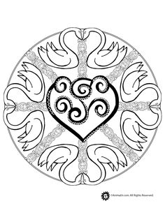 Animal Mandala Coloring Pages Swan Mandala Coloring Page – Animal Jr. Love Coloring Pages, Mandala Coloring Pages, Printable Coloring Pages, Adult Coloring Pages, Printable Art, Coloring Books, Coloring Sheets, Mandalas Painting, Mandalas Drawing