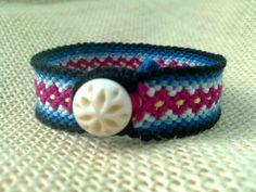 Friendship Bracelet  Blac Blue & Maroon Diamond by FriendsnMe, $6.00