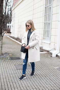 Max&Co. jacket, By Malene Birger knit, Zara jeans, Gucci bag, Nike sneakers