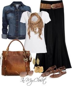 - Long black skirt, denim jacket, brown sandals and purse and belt, gold and brown bracelets…Is it spring yet? - Plus Size Fashion for Women # Casual Outfits jeans sandals 30 Outfits, Outfits Casual, Mode Outfits, Fashion Outfits, Womens Fashion, Outfits Spring, Dress Casual, Fashion Ideas, Fashion Trends