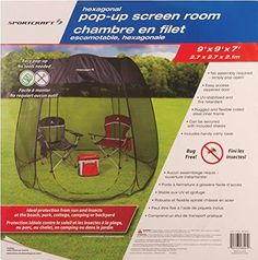 Pop Up Screen Room Dining Tent Sportcraft //.amazon.ca  sc 1 st  Pinterest & Frikon Deluxe 9u0027 Hexagonal Pop-Up Screen Room available ...