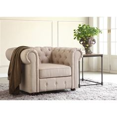 Moser Bay Furniture Garcia Beige Hand-tufted Rolled Arms Chair