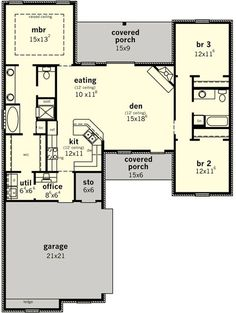 53 Trendy Home Office Design Layout Bedrooms Master Suite Dream House Plans, Small House Plans, House Floor Plans, House Plans 3 Bedroom, The Plan, How To Plan, Master Suite, Master Bath, Master Closet