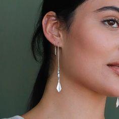 Threader Earrings, Silver Chain Earrings, Unique Silver Jewelry, Long Treader Earrings, Long Chain Earrings, Thread Earrings, Arrow Earrings