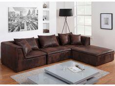 Canapé modulable DALLAS en microfibre aspect cuir vieilli prix promo Canapé Vente Unique 699.99 € TTC prix constaté* : 949 €