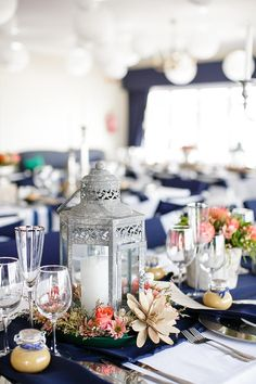Tablescape // Nautical Beach Wedding in Coral and Navy Blue // Jack and Jane Photography