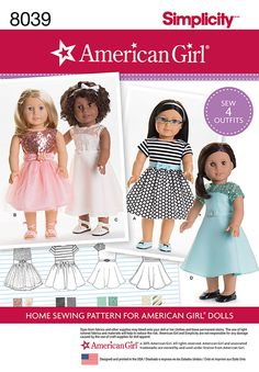 """Simplicity Creative Group - American Girl Doll Clothes for 18"""" Doll"""