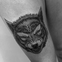 Wolf / First session #wolftattoo #tattoo #tattooparis #dot #dotwork #dottattoo #blackink #blacktattoo