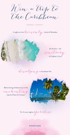 Enter to win a luxurious 8-night giveaway to Barbados and Petit St. Vincent for you and your better half!