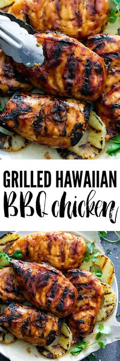 Grilled Hawaiian BBQ Chicken is quick and easy and the flavor is amazing! Served over grilled pineapple this is sure to be a hit!