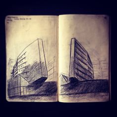 Two #sketches to #celebrate italian #architect Luigi Moretti in Milan ___  #archmazelab #architecture #architect #freehand #handmade #charcoal #model #sketches #sketch #illustration #art #drawing #milan #expo #expo2015 #art #pointofview