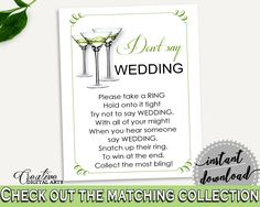 Don't Say Wedding Game Bridal Shower Don't Say Wedding Game Modern Martini Bridal Shower Don't Say Wedding Game Bridal Shower Modern ARTAN #bridalshower #bride-to-be #bridetobe
