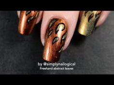 Abstract fall leaves freehand nail art