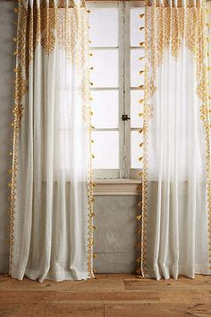 Anthropologie Adalet Curtain. Pretty light and airy curtains for a fresh spring look. #yellowcurtains #curtainslivingroom #drapery #afflnk #funkthishouse