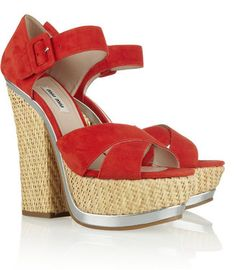 70f625bf9470 Miu Miu Suede and straw platform sandals - ShopStyle