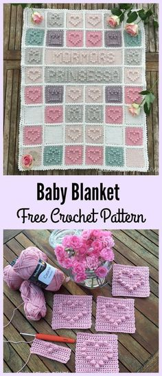 Heart Bubble Stitch Baby Blanket Free Crochet Pattern #Valentines