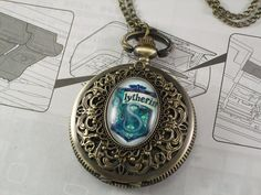 harry potter seal watch Vintage style Glass steampunk Pocket Watch Necklace with Inspired Slytherin pendant on Etsy, $0.99