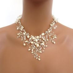 Bridal freshwater pearl necklace set Wedding by TheExquisiteBride
