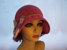 Hat Cloche1920s flapper Pink Crochet Bell by MixedMediabyBridget, $120.00