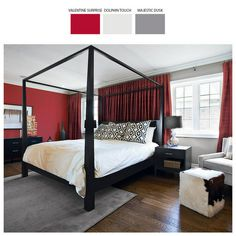 Sypialnia skomponowana w tonie wytrawnego bordo i czerwonej róży to prawdziwa uczta dla zmysłów. Uzupełniona dodatkami w odcieniu szarości i eleganckiej czerni staje się doskonałym miejscem do odpoczynku.