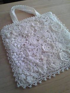 #20 Irish Crochet Lace Bag